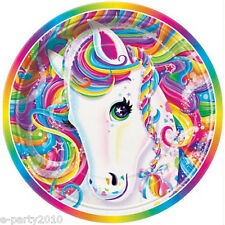 LISA FRANK SMALL PAPER PLATES (8) ~ Birthday Party Supplies Cake Rainbow Horse