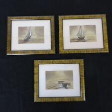 Vintage Lot 3 Faux Tigerwood Framed Watercolor Print Nautical Sailboat Ships