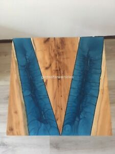 Blue Resin Two Sided River Custom Corridor Table Handmade Collectible Furniture