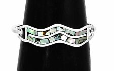 Artisan Abalone and Mother of Pearl Wave Bracelet from Taxco Mexico