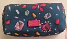 Betsey Johnson Luv Betsey Teal Gems Hearts Butterflies Cosmetic Bag w/Mirror NWT
