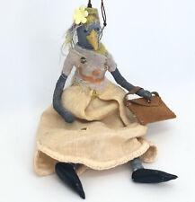 Folk art spun cotton and clay ornament bird avian anthropomorphic doll cindy802
