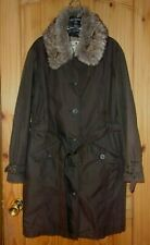 Woolrich Brown Insulated Trench Coat w/ Faux Fur Detachable Collar, Womens XL