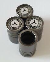 MERCEDES BENZ Titanium Matte Grey valve Tyre Dust Caps Plastic Inside all models