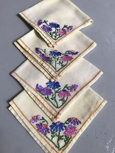 Vintage Buttercup Embroidered Napkins X 4 Matching - 25cm Square - really pretty