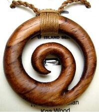 Genuine Koa Wood Hawaiian Jewelry Spiral Pendant Choker/Necklace  # 45023