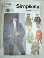 Easy Misses Poncho Cape with Hats Sewing Pattern Simplicity 5309 One Size