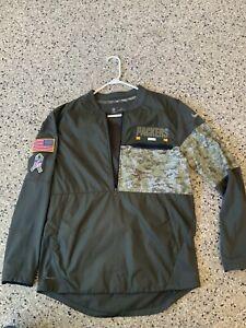 Green Bay Packers Salute to Service Nike Hybrid 1/2 Zip Jacket M  Medium Rodgers