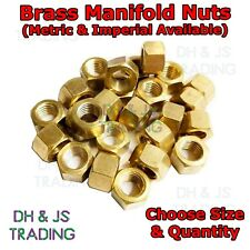 Brass Exhaust Manifold Nuts - Metric Pitch High Temp Inlet M8 M10 & UNF UNC