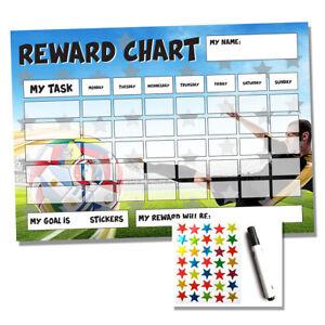 Football Reward Chart - Sticker Star Chart - Homework Chores - Children Kids