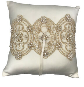 Beverly Clark Ring Pillow Luxe Ivory Lace Seed Pearls Seed Beads