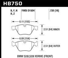 Hawk for 13-14 BMW 528i / 528i xDrive HPS Front Brake Pads - hawkHB750F.720