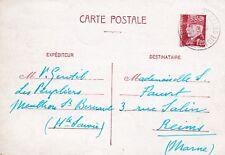 X255 ENTIER POSTAL PETAIN 1F20 oblitération de MENTHON St BERNARD en 1942