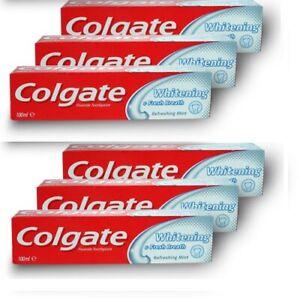 6x Colgate Whitening & Fresh Breath Mint Toothpaste 100ml