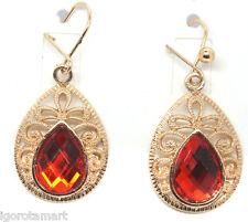 Large Teardrop Gold Plated Red Dangle Earring Beaded Fish Hook Women Fashion