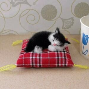 Doll House Accessories - 1 x Mini Black & White Cat on a Cat Bed