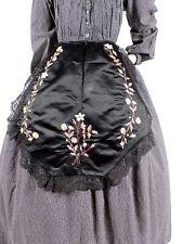 CIVIL WAR ERA BLACK SILK SATIN APRON FOR DRESS W HAND EMBROIDERED FLORALS