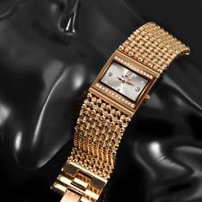 Soxy Luxury Rhinestone Bracelet Wide Stainless Steel Rose Gold Women Watches