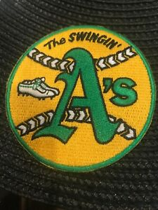 "Oakland A's Athletics ""The Swingin"" Vintage Embroidered Iron On Patch 2 7/8"""