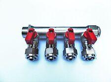 "4 Port Radiant Heating Manifold for 1/2"" Pex-al-Pex tubing, Brass Manifold"
