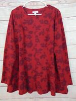Denim & Co. Brushed Heavenly Jersey Fit and Flare Printed Tunic Fall Wine Medium