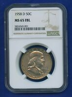 1958 D NGC MS65FBL Franklin Half Dollar 50c US Silver 1958-D NGC MS-65 FBL