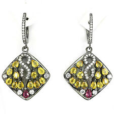 INFINITY! NATURAL YELLOW SAPPHIRE RED PINK RUBY White CZ .925 SILVER EARRINGS