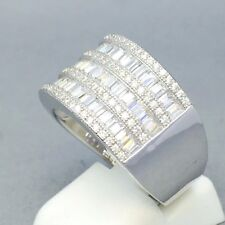 """STUNNING 925 STERLING SILVER CUBIC ZIRCON 3 ROW ENGAGEMENT RING SIZE """"L½"""" 1171"""
