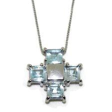 Collares y colgantes de bisutería color principal azul de oro blanco topacio