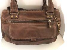 Fossil Brown Leather Handbag -Shoulder bag hobo - w/ Brass Key - 3 Compartments