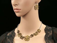 only 1 set topaz brown crystal enamel butterfly rose flower necklace earring N50