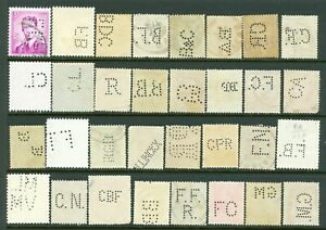 Belgium – Thirty-two (32) Perfin Stamps all Different Patterns