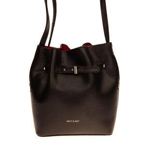 RRP €185 MATT & NAT Crossbody Bucket Bag PVC Leather Grainy Panel Drawstring