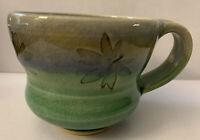 "Art Studio Pottery Mug Leaf Pattern Stamped EG 3 1/4"" Height"