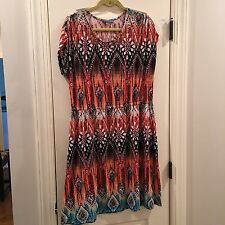 Ladies NY Collection Dress Size L Aztec Style With Faux Brass Studs Orange Multi