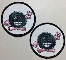 """1 Pair, Vintage """"Cute Little Fuzz Ball"""" 3 Inch Round (2) Patches"""