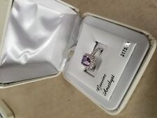 Silver Square Halo Ring $175 Sz7 Genuine Amethyst & Cubic Zirconia Platinum Over