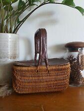 Vintage Unique Woven Wicker Picnic Basket w/ Leather Handle & Lid Cover