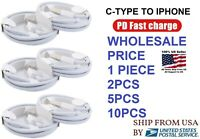 LOT PD USB-C to IPHONE USB Cable Fast Charger Cord For iPhone 12 Pro 11 Max iPad