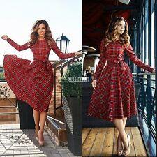 Womens Ladies Long Sleeve High Waist Plaid Check Tartan Big Swing Long Dress B7U