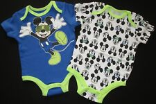 Baby Boys Disney Bodysuit Romper 2 Set Pack Mickey Mouse Blue Outfit Sz 00 NEW