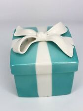 """Large Tiffany & Co Porcelain Blue Trinket Jewelry Gift Box Bow - 4.3"""" Tall"""