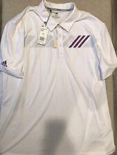 Men's Adidas 360 Print Polo Shirt White Purple Xxl Brand New $60