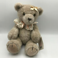 """Applause Victorian Reflections 14"""" Tan Jointed Teddy Bear Eyelet Collar New Tag"""