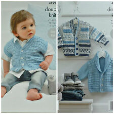 Knitting pattern BABY facile MAGLIA SCOLLO A V Cardigan & Roll Colletto Giacca DK KC 4199