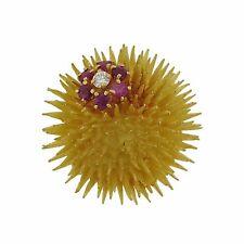 Tiffany & Co 18k Gold Ruby Diamond Sea Urchin Brooch Pin