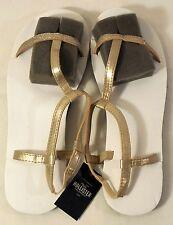 "HOLLISTER T-Strap Flat Sandal, White Gold Glitter, Size Small 7/8 (9-1/2"") NWT"