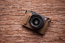 Genuine Real Leather Half Camera Case Bag Cover for Leica Q Typ 116 Dark Brown H