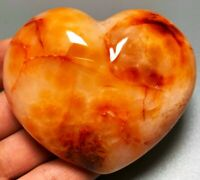 263g Unique Red Orange CARNELIAN AGATE Crystal Polished Heart Palm Stone