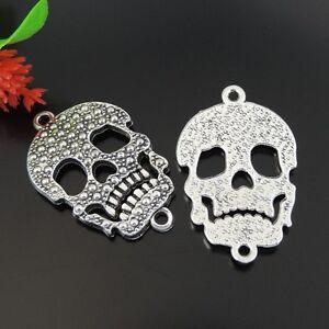 5pcs Antique Silver Tone Zinc Alloy Skull Charms Pendant Jewelry 35*22*2mm